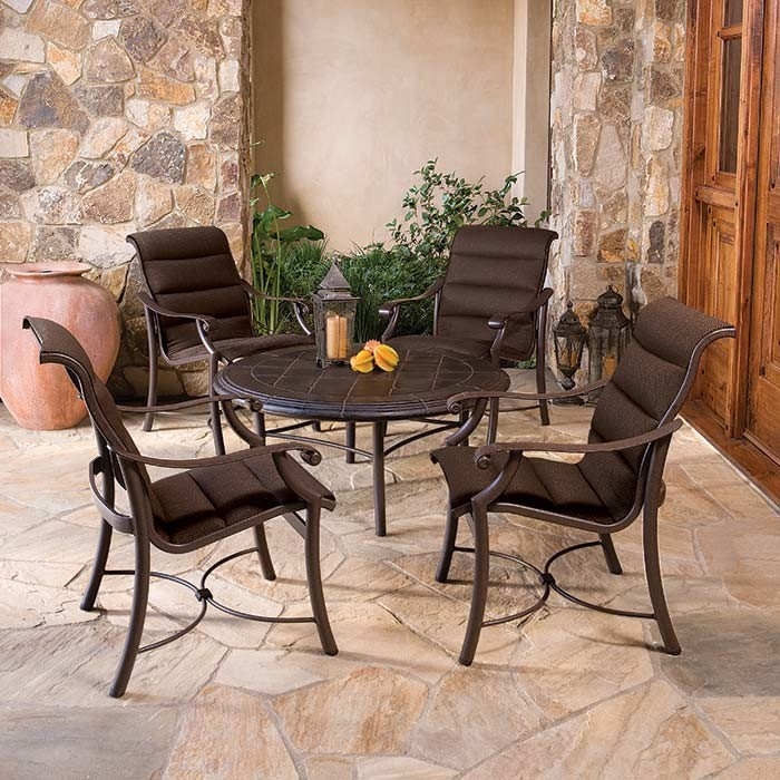 Tropitone Spaces with Aluminum Furniture Chat Table Lounge Chairs Montreux Outdoor Padding Sling Patio Sling