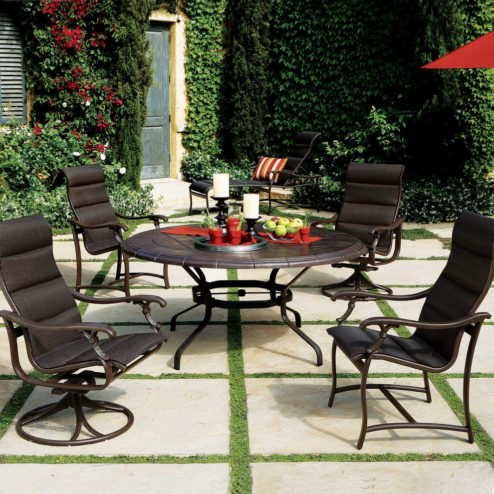 Tropitone Furniture Exterior with Aluminum Aluminum Furniture Faux Stone Table Top Outdoor Padded Sling Patio Ravello