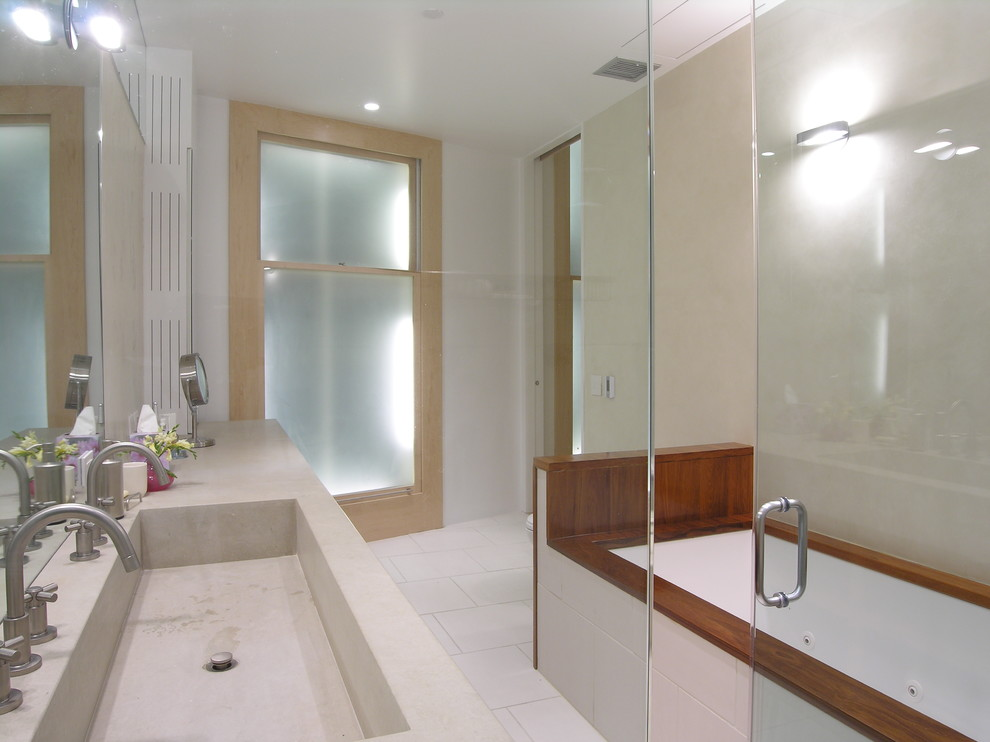 Trough Sink Bathroom Modern with Double Sinks Integrated Sink Minimalist Soaking Tub Tile Floors Wood Tub Surround