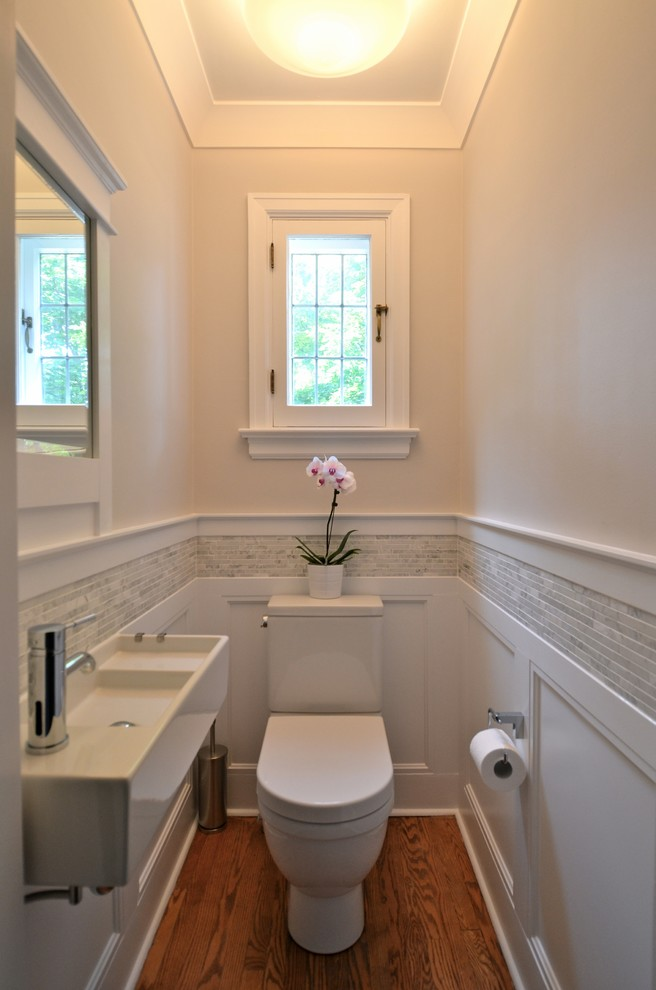 Trough Sink Powder Room Traditional with Bathroom Beige Walls Casement Windows Crown Molding Powder Room Small Space Tile