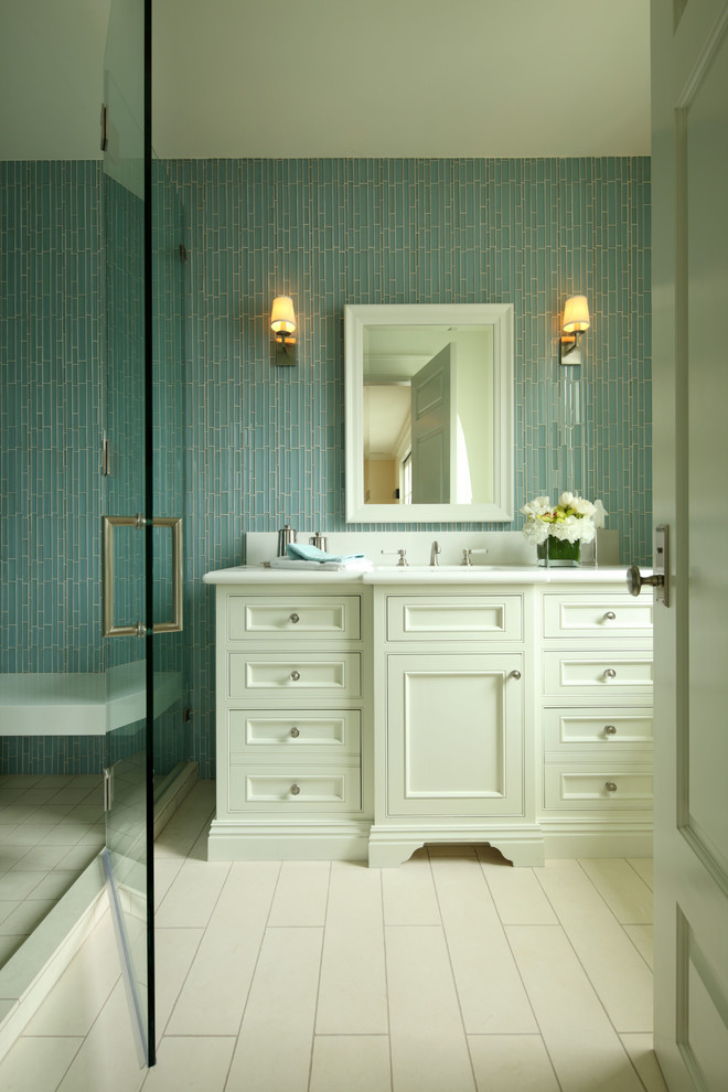 Trough Sinks Bathroom Traditional with Bathroom Cabinetry Shower Wall Tile White