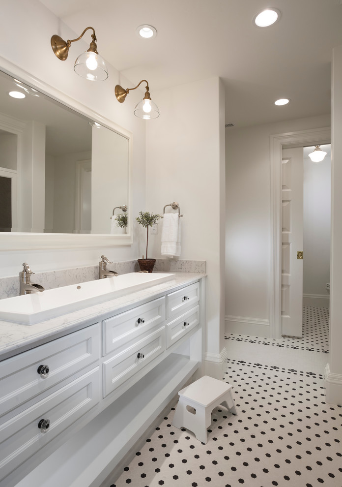 Trough Sinks Bathroom Traditional with Footstool Framed Mirror Jack and Jill Sink Marble Counter Pocket Door Recessed