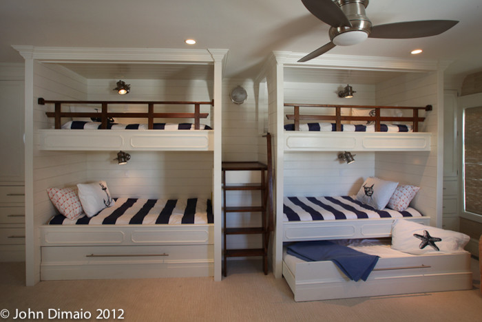 Trundle Bed Kids Traditional with Blue and White Built in Bunk Beds Bunk Ladder Bunk Room Ceilng