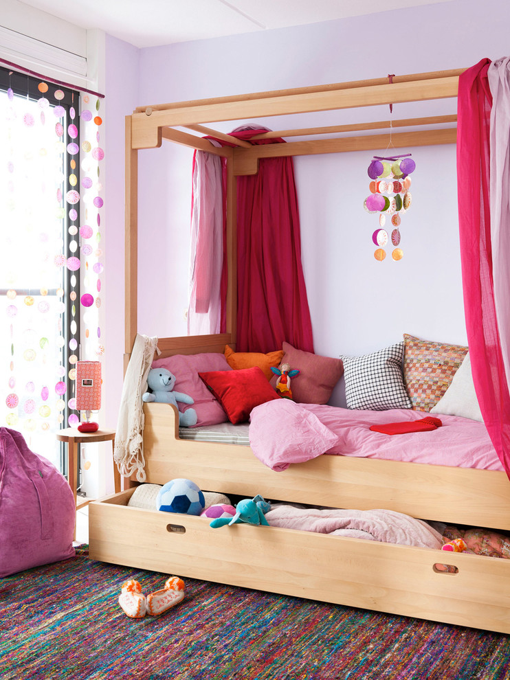 Trundle Bed Frame Kids Contemporary with Area Rug Bedroom Bedside Table Canopy Bed Decorative Pillows Four Poster Bed