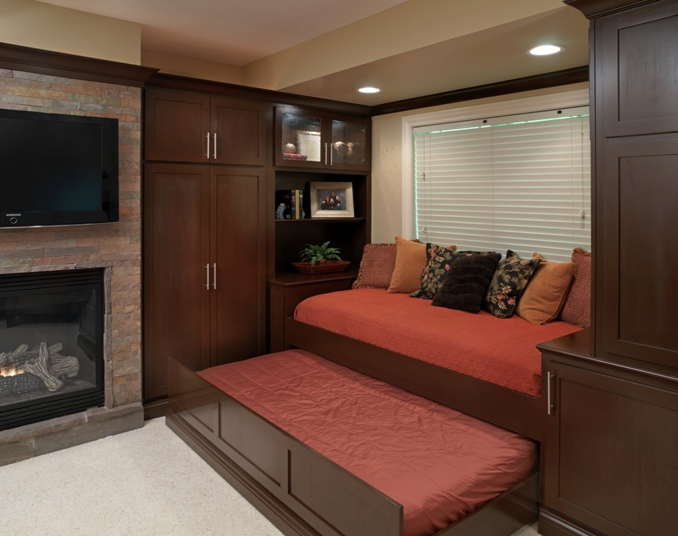Trundle Beds Basement Modern with Custom Built Ins Entertaining Stone Fireplace Surround Trundle Bed Tv Over Fireplace