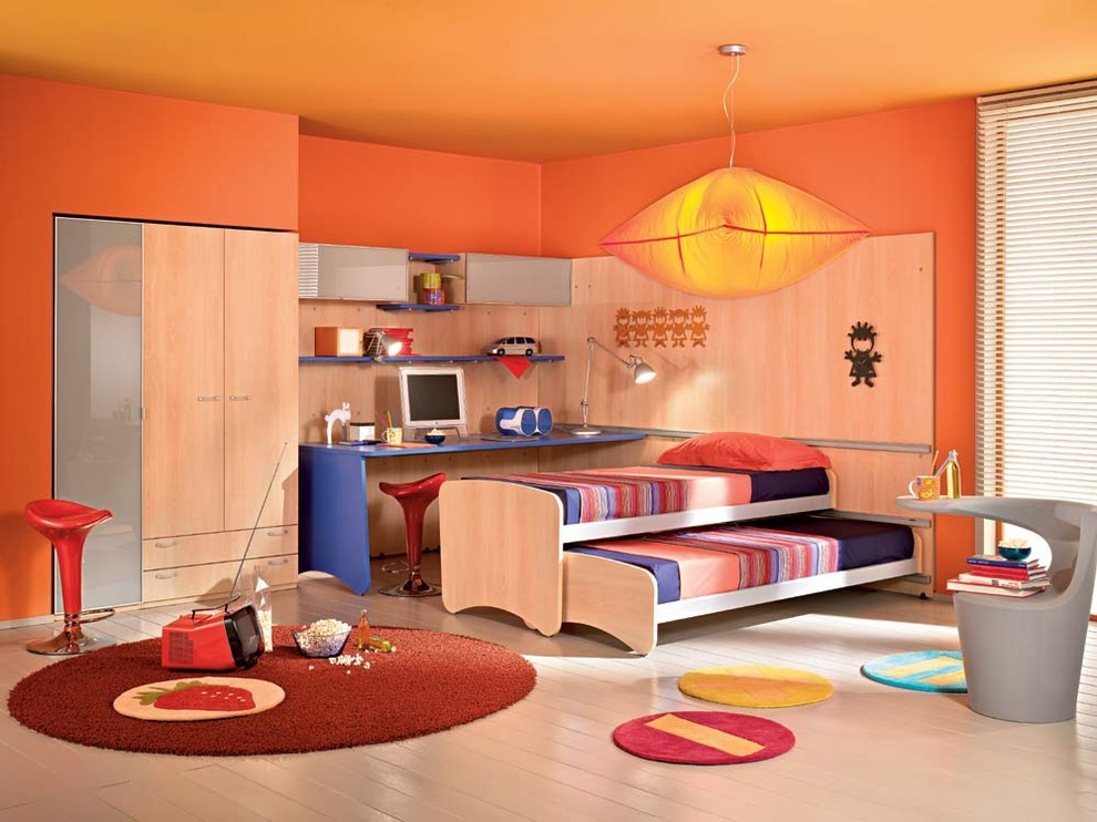Trundle Beds for Kids Kids Modern with Area Rug Bed Bedding Bedside Table Closet Computer Cupboard Desk Girl Modern
