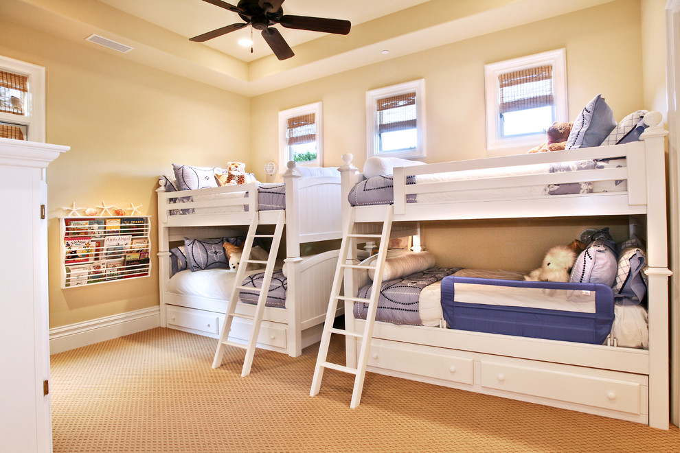 Trundle Beds for Kids Kids Traditional with Ceiling Fan Cream Walls Girls Bedroom Girls Room Girly Guard Rail Kids