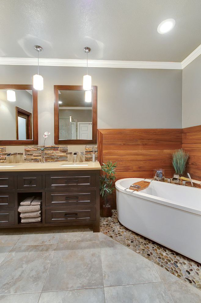 Tub Caddy Bathroom Contemporary with Corner Tub Crown Molding Freestanding Tub Gray Ceiling Gray Walls Pebble Tile