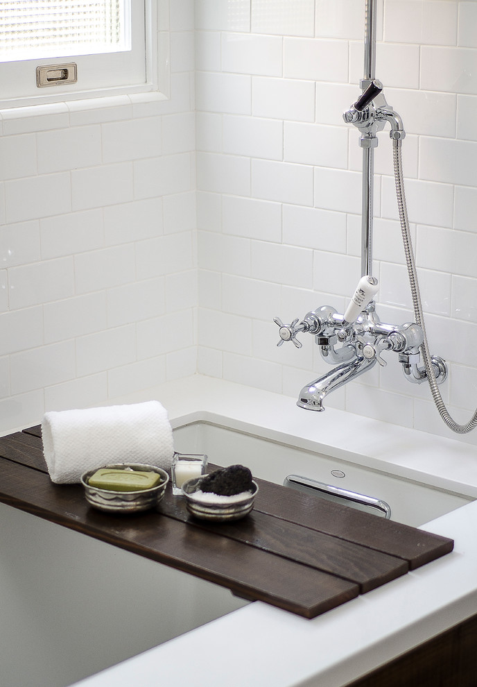Tub Caddy Bathroom Farmhouse with 4ptdc Before and After Bright White Charming Clean Lines Contrast Custom Bath1