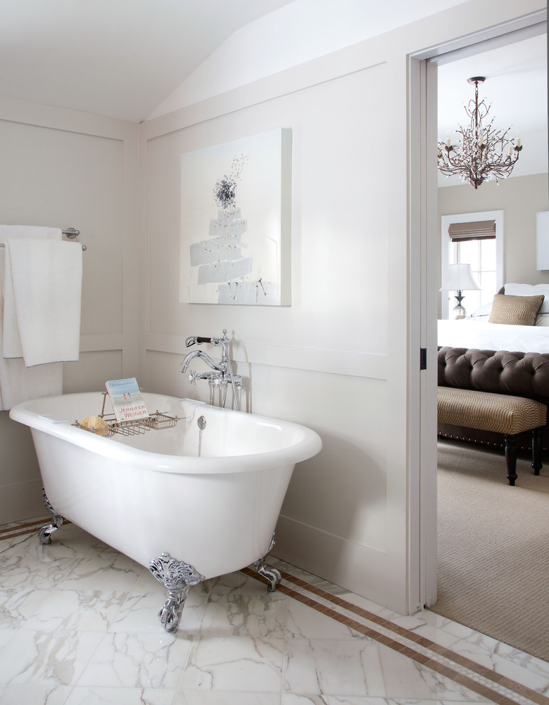 Tub Caddy Bathroom Traditional with Artwork Beige Clawfoot Tub Floor Mount Faucet Frame and Panel Walls Freestanding1