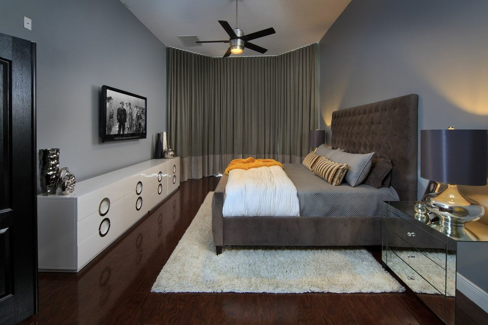 Tufted Bed Bedroom Contemporary with 50 Shades of Gray Banded Drapes Benjamin Moore Gray Ceiling Mount Drapes