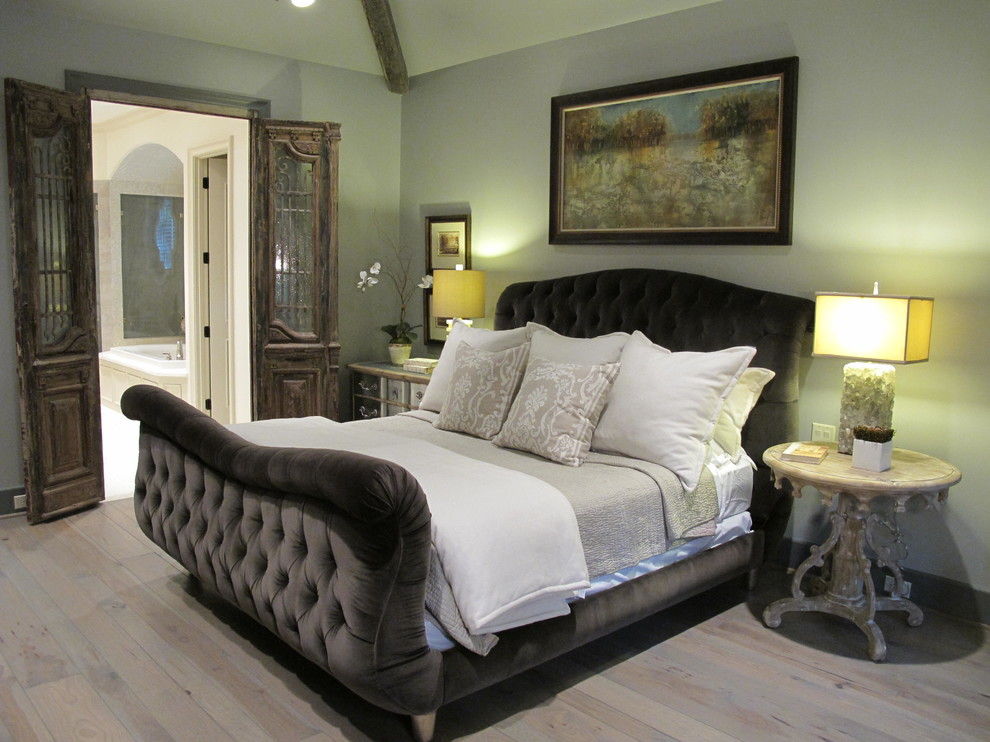 tufted bed Bedroom Contemporary with antique doors carved wood side table Lili Alessandra custom velvet bed dark