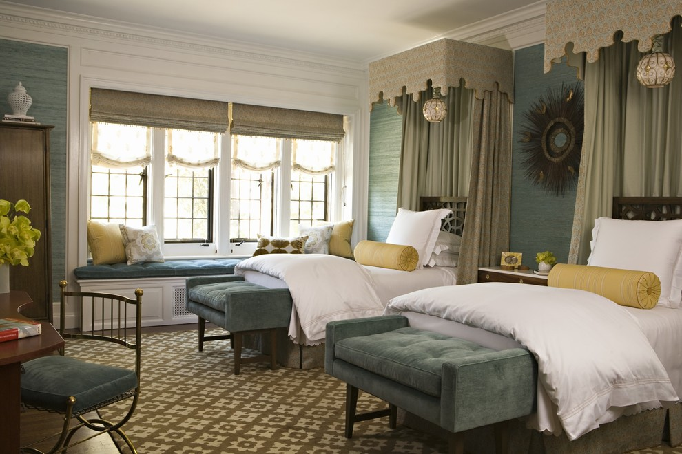 Tufted Bench Bedroom Traditional with Antique Aqua Blue Suede Bolster Pillow Canopy Bed Cornice Crown Molding Empire