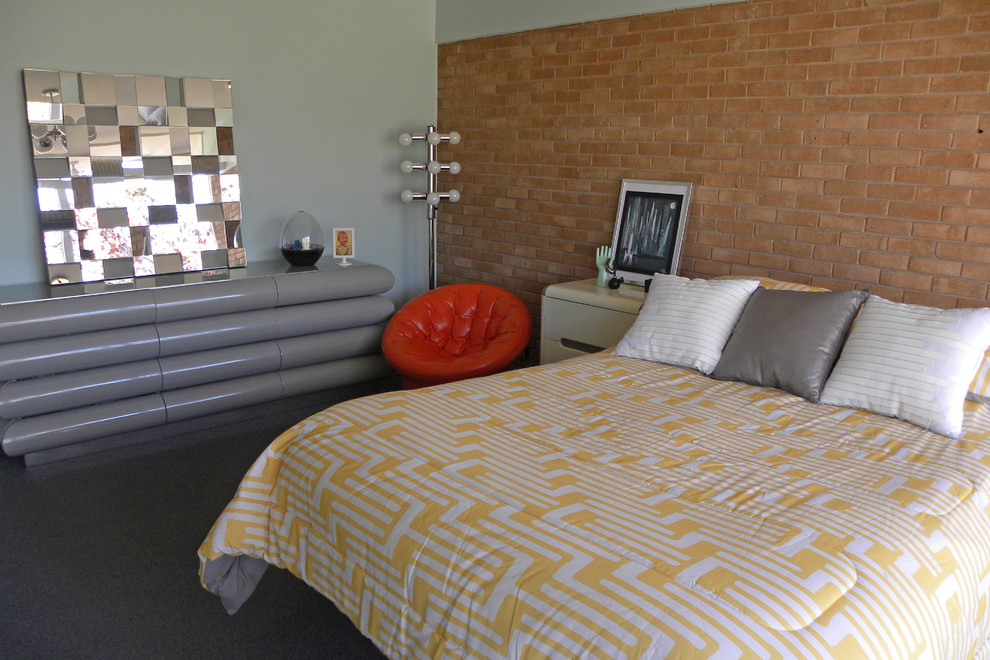 Tufted Chair Bedroom Midcentury with 1950s Art Bed Brick Brick Wall Chair Circle Exposed Gray Grey Dresser