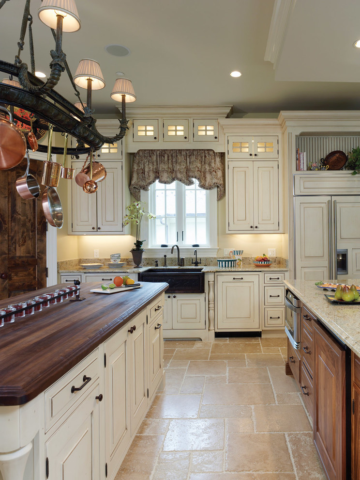 Tufted Chair Kitchen Traditional with Bertch Cabinetry Chandelier Eggshell Matte with Heavy Brown Glaze Farmhouse Sink Island