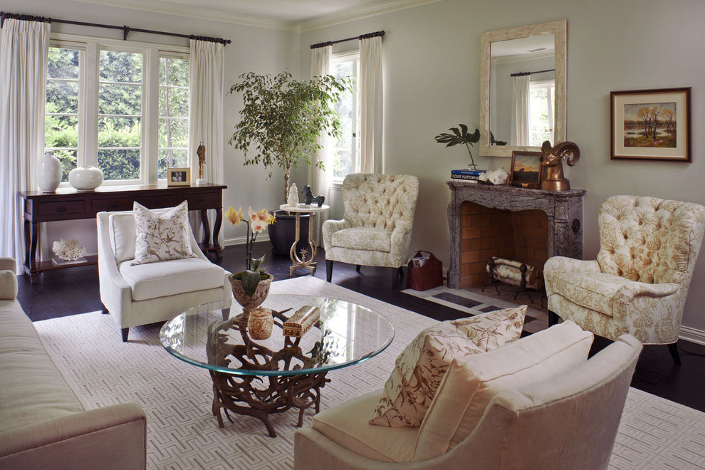 Tufted Chair Living Room Transitional with Area Rug Console Table Curtains Dark Floor Decorative Pillows Drapes Fireplace Mantel