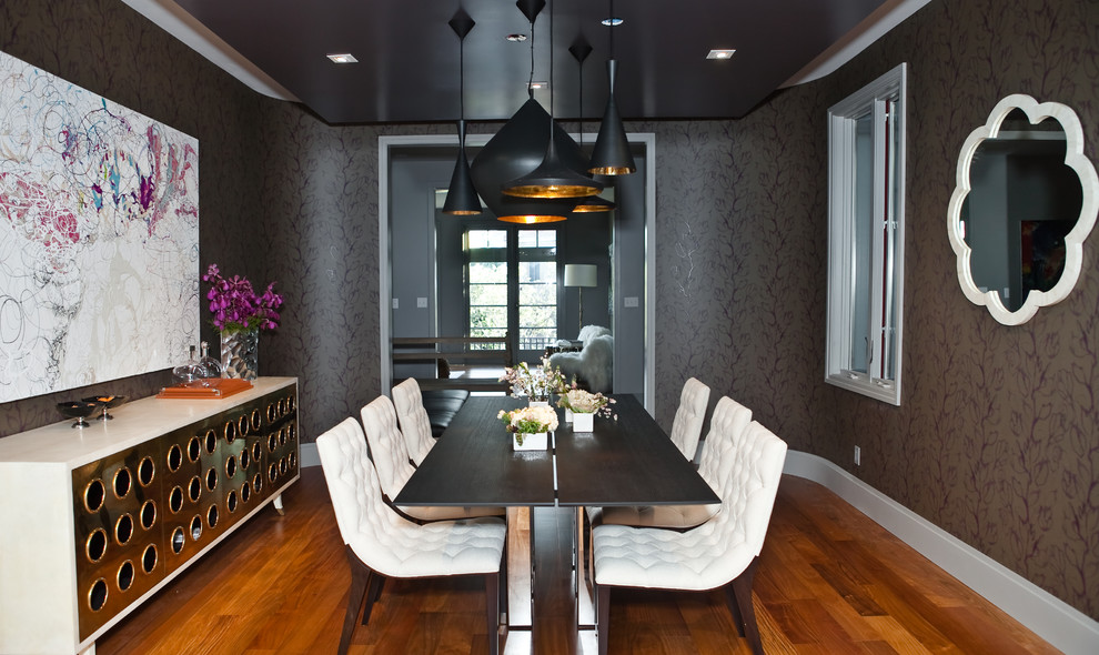 Tufted Dining Chair Dining Room Modern with Black Ceiling Black Pendant Lighting Black Walls Dark Patterned Wallpaper Dark Wood
