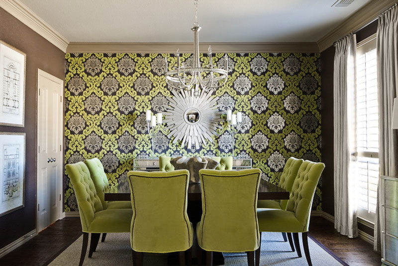 Tufted Dining Chair Dining Room with Architectural Series Chartreuse Green Damask Wallpaper Hand Blown Glass Candelabras Metallic Chandelier