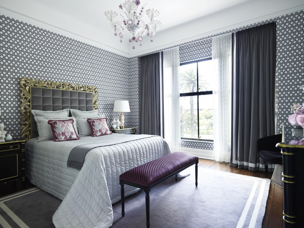 Tufted Headboard Bedroom Contemporary with Area Rug Astor Apartment Sydney Bench Seat Carved Wood Chandelier Curtain Panels