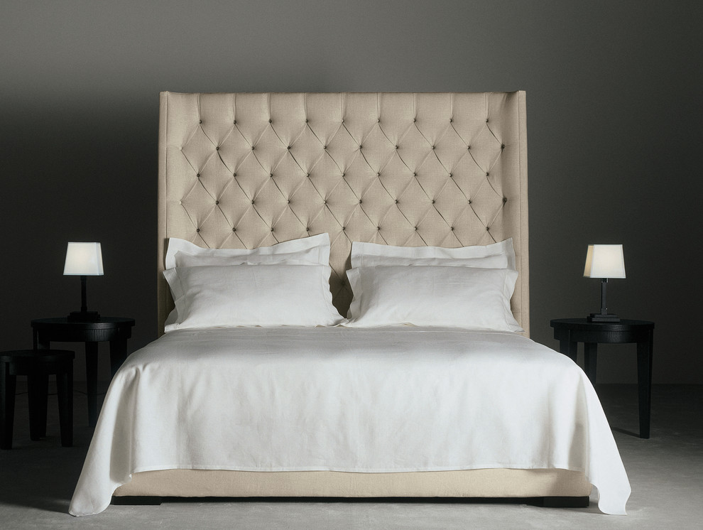 tufted headboard Bedroom Traditional with bed bedside table grey wall minimal neutral colors table lamp tufted headboard