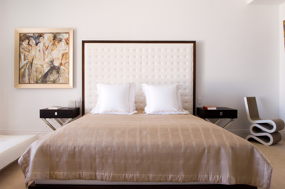 Tufted Headboard King Bedroom Contemporary with Aventura Beige Bedding Beige Carpet Brickell Coconut Grove Coral Gables Downtown Fisher
