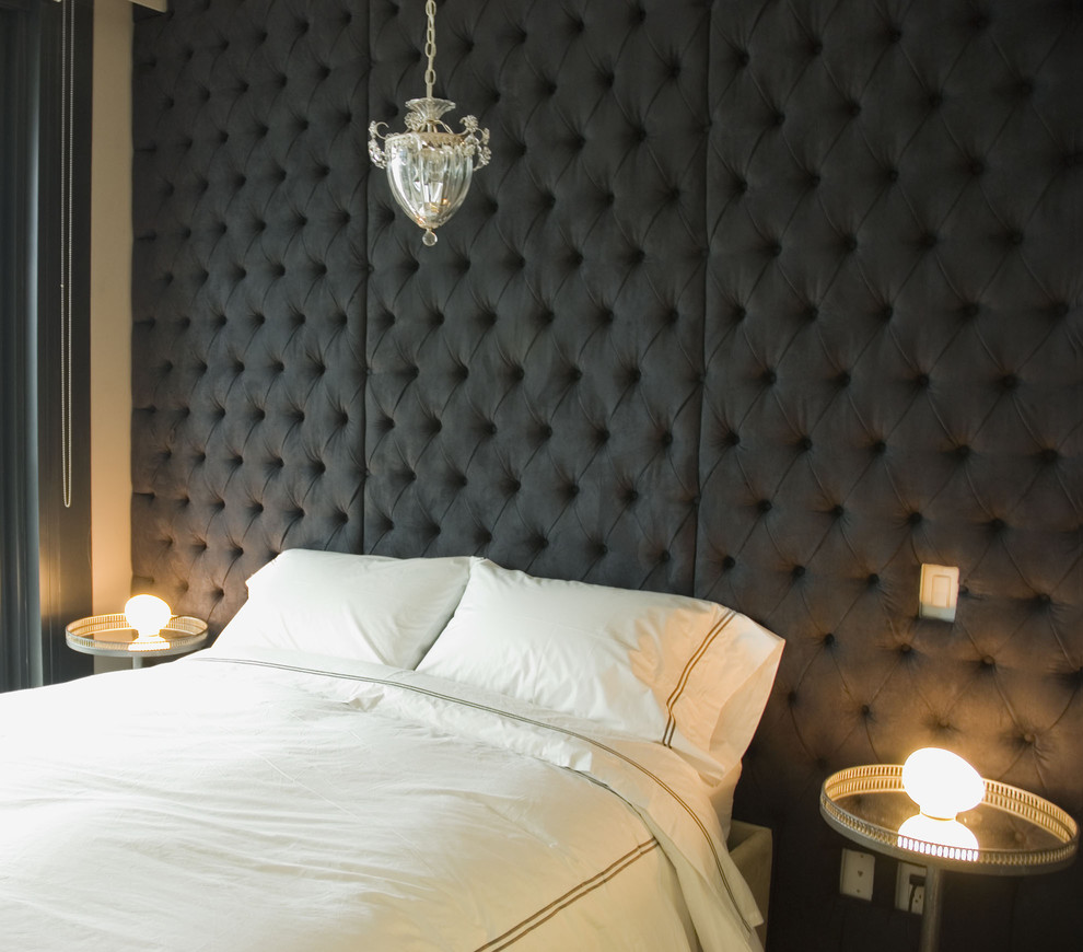 Tufted Headboard King Bedroom Contemporary with Bedroom Bedside Tables Pendant Lamp Tufted Headboard
