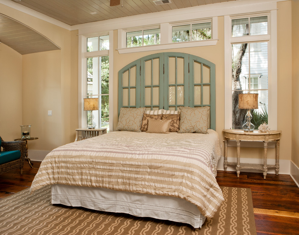 Tufted Headboard Queen Bedroom Beach with Accent Pillows Beachy Pillows Beadboard Ceiling Bedroom Pillows Beige Bedding Beige Walls1