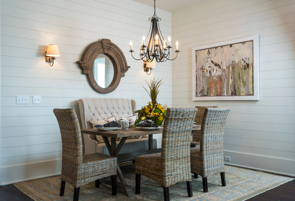 Tufted Settee Dining Room Traditional with Beadboard Chandelier Mirror Rustic Rustic Table Sofa White Sofa White Wall Wicker