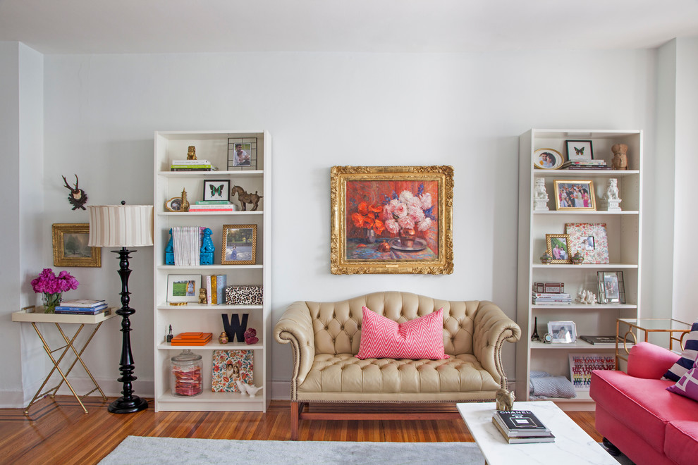 Tufted Settee Living Room Eclectic with Area Rug Bookshelves Coral Floor Lamp Gilt Frame Marble Coffee Table Pink