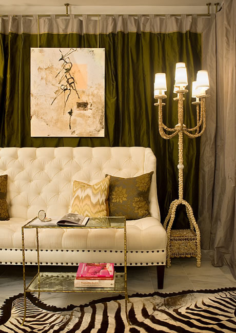 Tufted Settee Living Room Eclectic with None