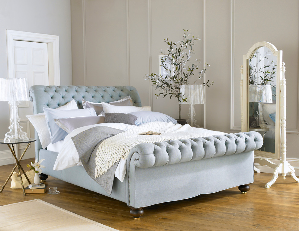 tufted sleigh bed Bedroom Contemporary with beautiful bed bedding bedstead blue British buttoned chesterfield design duck egg elegant