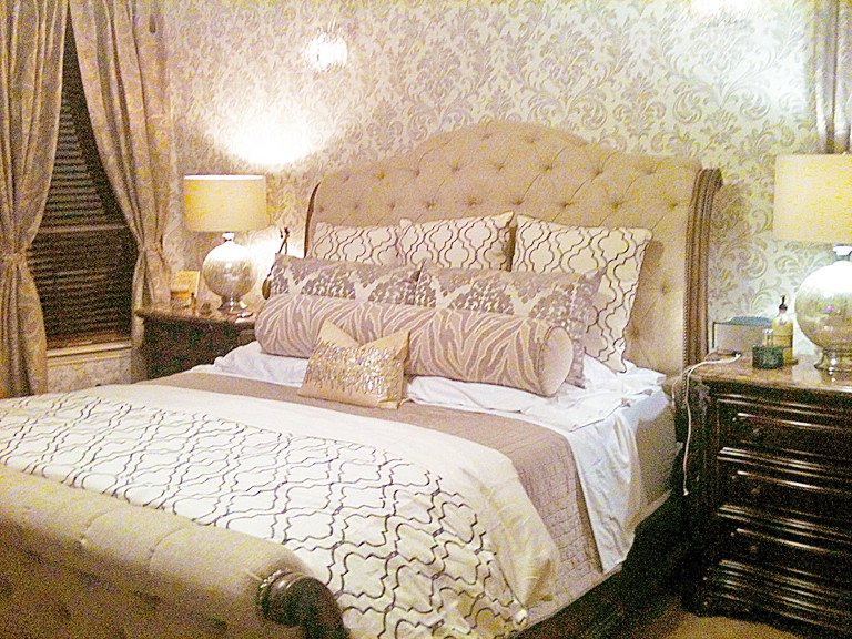 Tufted Sleigh Bed Bedroom Traditional with Custom Curtains Damask Wallpaper King Sleigh Bed Large Bolster Tufted Sleigh Bed