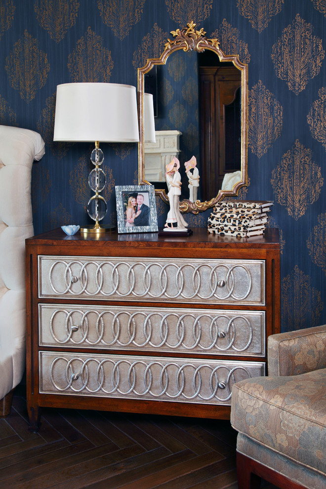 Tufted Sleigh Bed Spaces with Arm Chair Bedroom Blue and Gold Wallpaper Brocade Armchair Ceramic Figurine Chest