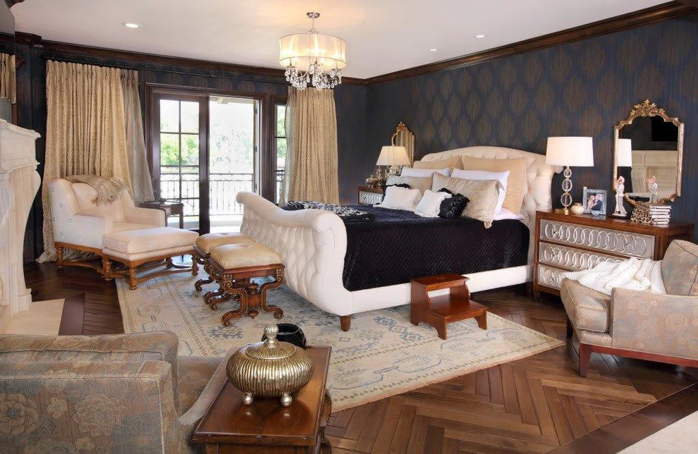 Tufted Sleigh Bed Spaces with Arm Chairs Chest of Drawers Dark Blue Wallpaper Dark Wood Trim Fireplace