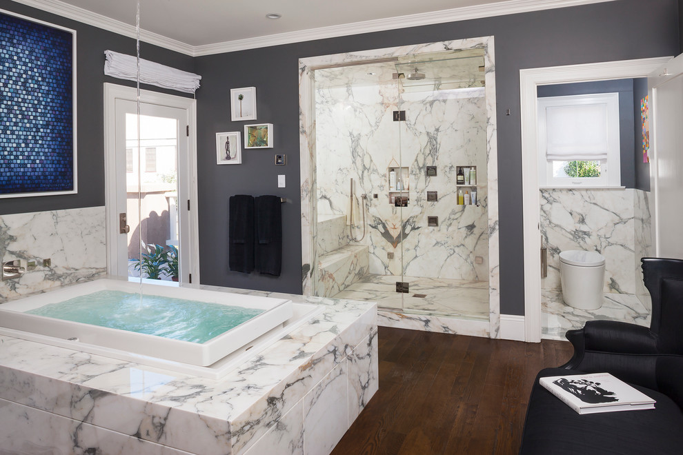 Tufted Slipper Chair Bathroom Contemporary with Art Walls Calacatta Marble Counters Eating Counter European Style Floating Shelves Hardwood
