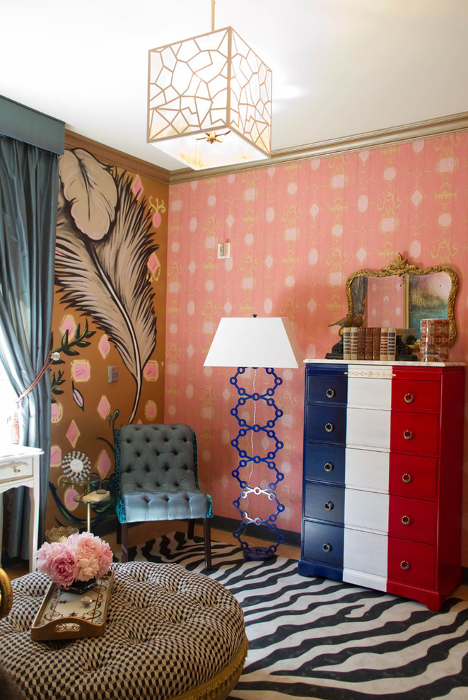 Tufted Slipper Chair Bedroom Eclectic with Area Rug Bold Patterns Bold Prints Chest of Drawers Colorful Crown Molding1