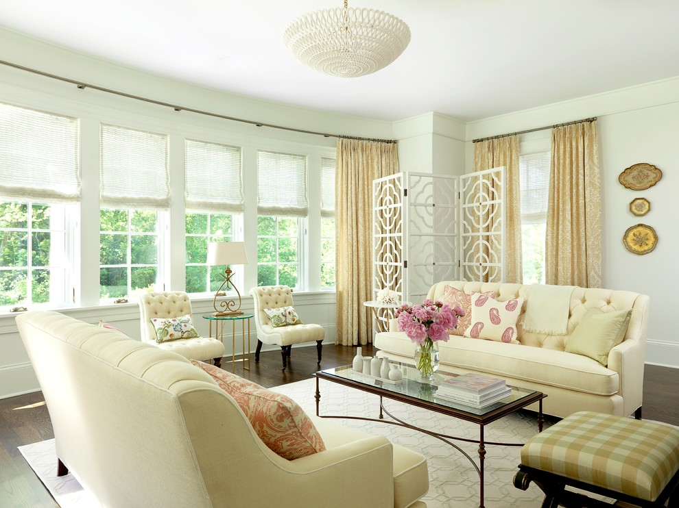 Tufted Sofas Living Room Beach with Bay Window Beige Chair Beige Checkered Ottoman Beige Curtain Beige Rug Beige