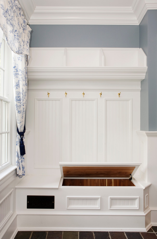 Tufted Storage Bench Entry Traditional with Beadboard Bench Cedar Coat Hooks Curtain Gray Wall Molding Moulding Mudroom Mudroom
