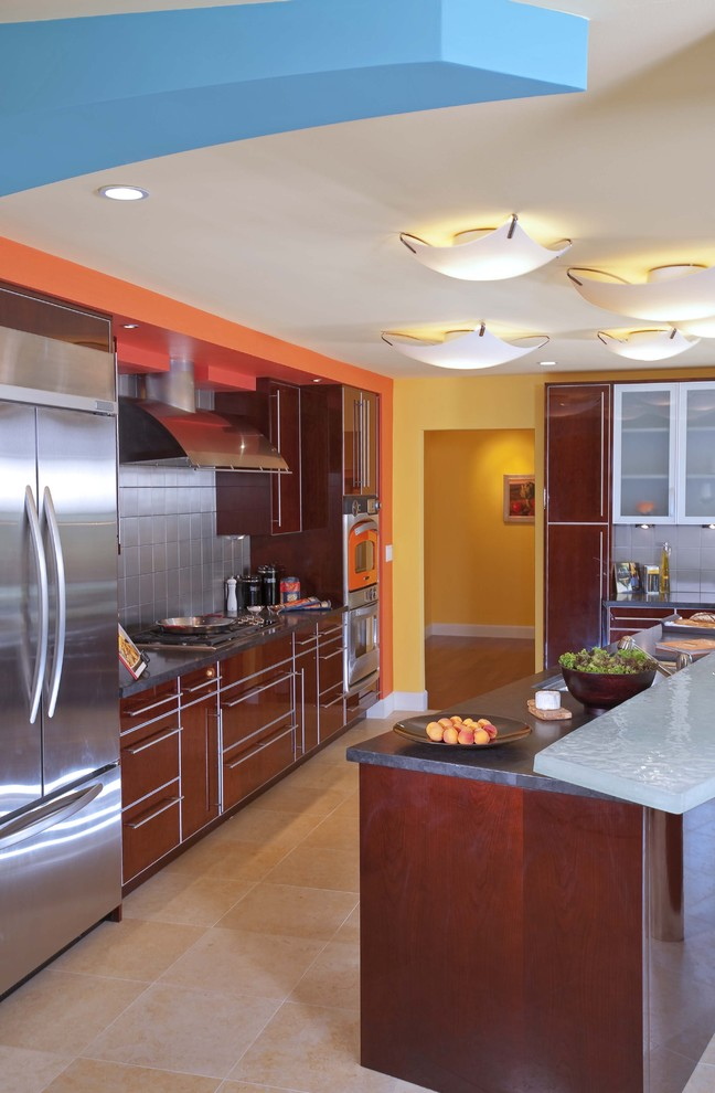 turbo oven Kitchen Contemporary with Asian bay area blue blue walls breakfast bar Bright Walls cabinet hardware