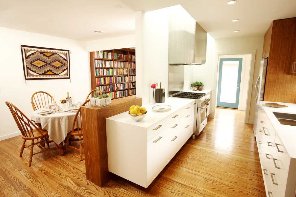 Turbo Oven Kitchen Modern with Built in Bookcase Built in Bookshelves Ceiling Lighting Dining Double Galley Kitchen Flat Panel