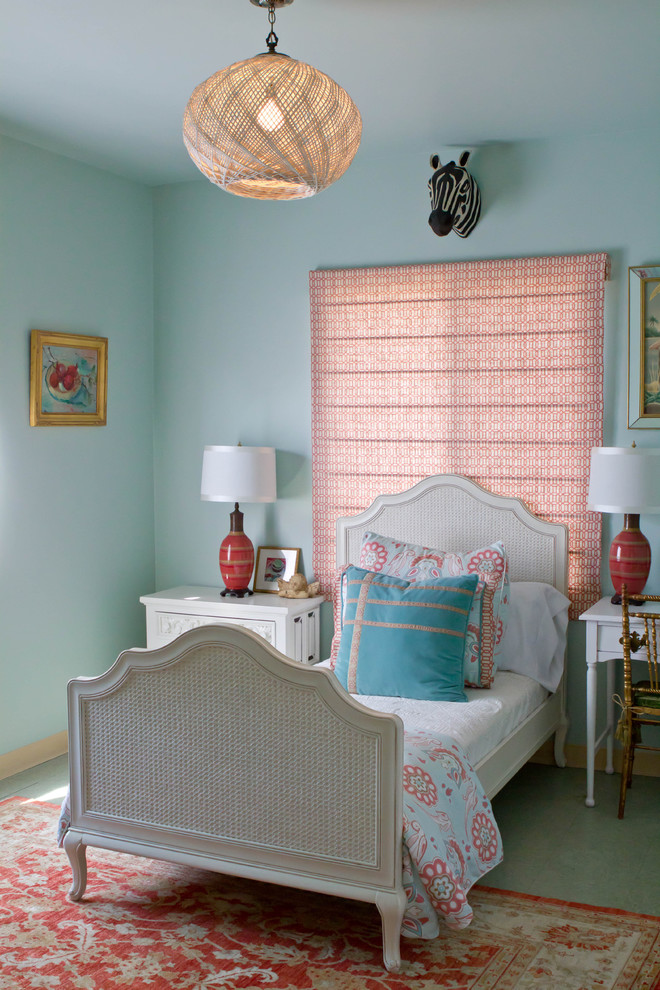 Turquoise Comforter Bedroom Contemporary with Basket Bedside Table Coral Gold Light Blue Pillow Rattan Red Roman Shade