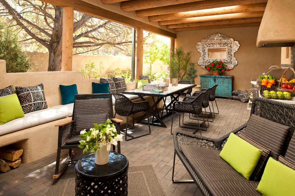 Turquoise Comforter Porch Southwestern with Adobe Banco Beams Built in Sofa Clean Contemporary Covered Patio Lime Green