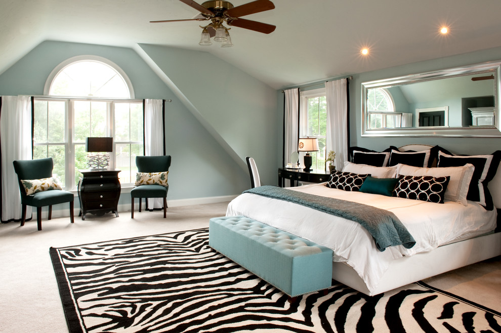 Turquoise Ottoman Bedroom Traditional with Arched Window Attic Black and White Pillows Black and White Rug Ceiling