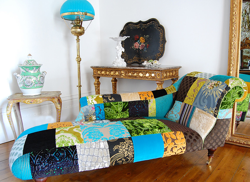 Turquoise Quilt Bedroom Eclectic with Patchwork Furniture Chaise Designers Gui