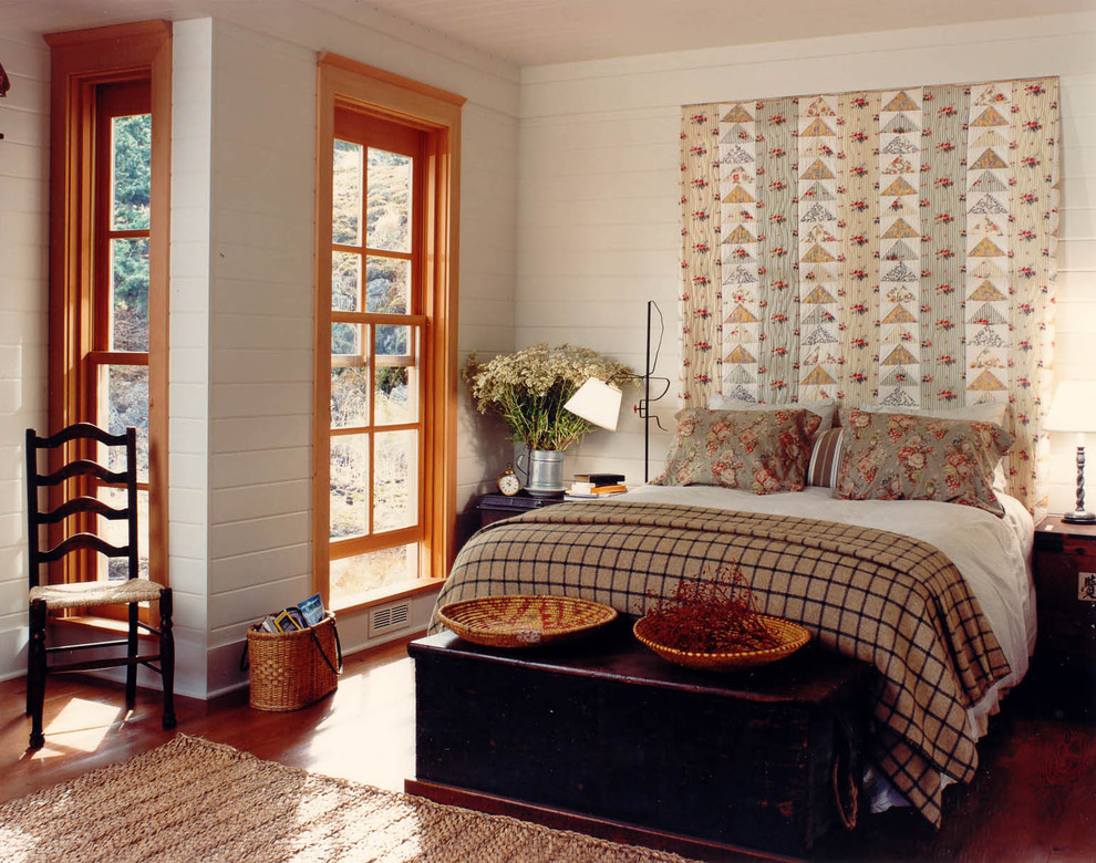 Turquoise Quilt Bedroom Rustic with Alcove Area Rug Bedside Table Cabin Ceiling Designs Floral Pillows Foot Of