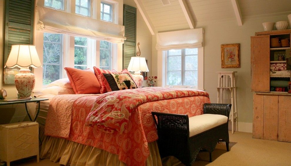Turquoise Quilt Bedroom Shabby Chic with Aqua Beamed Ceiling Beams Beams with Decking Bed Under Window Bedskirt Black