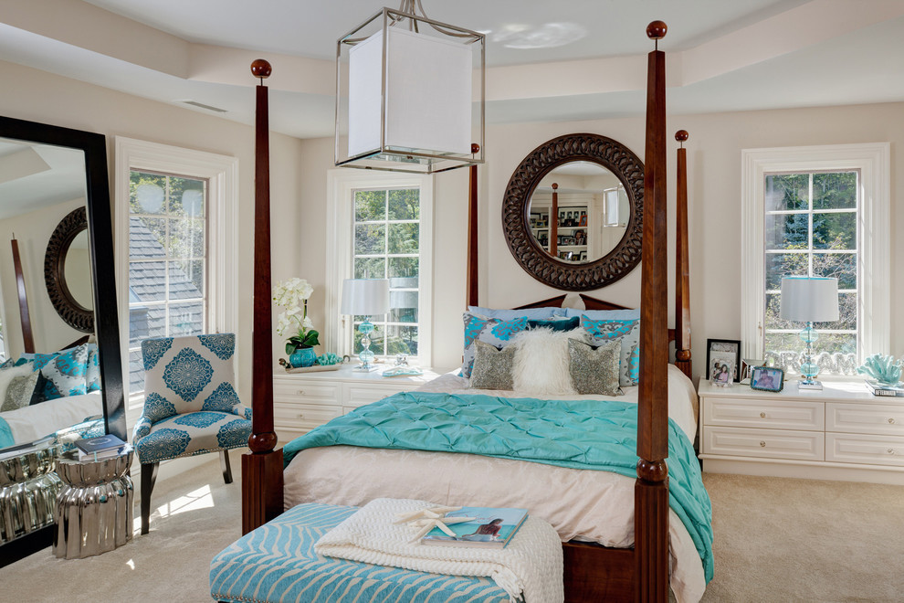 turquoise quilt Bedroom Traditional with bar beautiful pools blue accents familyroom full length mirror guest bedroom large