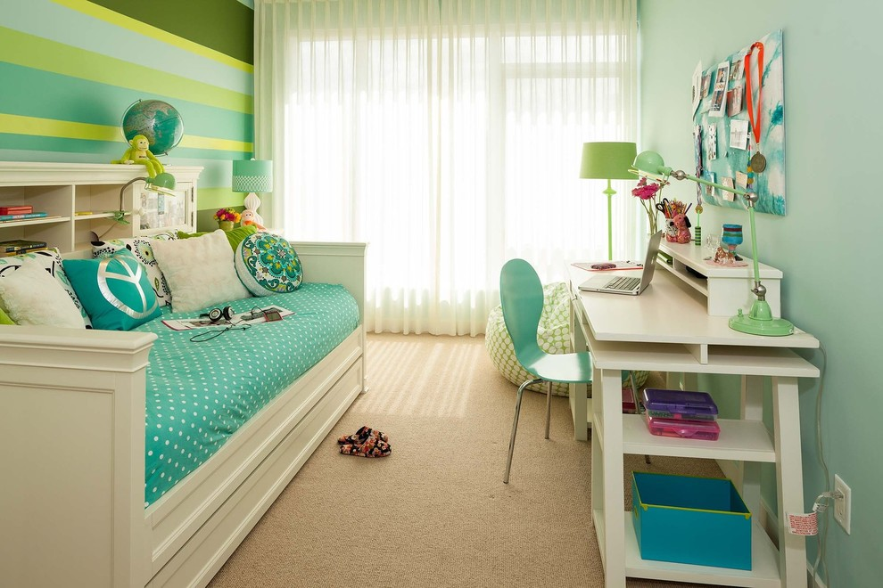 Twin Bed with Trundle Bedroom Contemporary with Accessories Blue Paint Blue Walls Curtain Desk Girls Room Painted Stripe Wall
