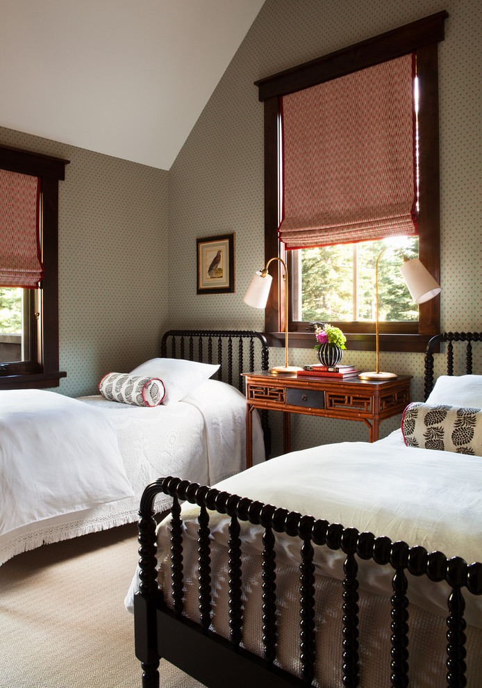 Twin Beds for Boys Bedroom Traditional with Dark Stained Wood Trim Roman Shades Two Twin Beds Wallpaper