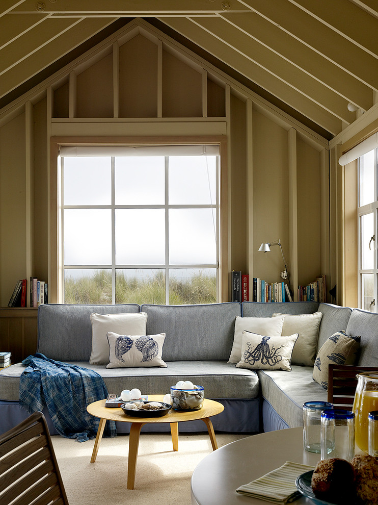 twin blow up mattress Living Room Beach with beach house blue couch bookshelves coastal decorative pillows exposed rafters nautical reading